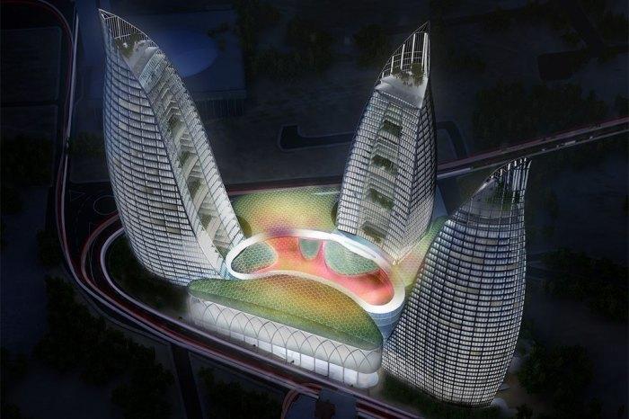 Комплекс состоит из офисов, гостиницы и апартаментов.