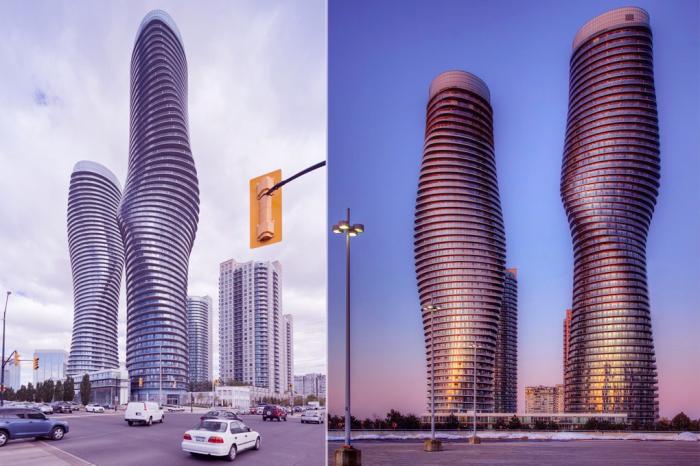 Облицованные алюминием пятидесятиэтажные жилые башни в пригороде Торонто.