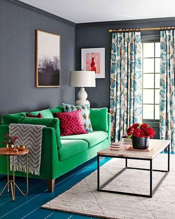 Нефритовая мебель в интерьере гостиной.
