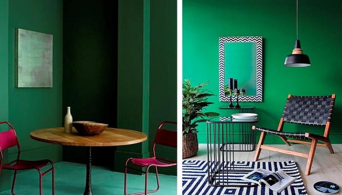 Тёмный нефритовый цвет стен прекрасно дополнит любой интерьер.