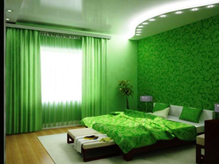 Выбор спальни в нефритовых тонах - всегда оригинальное решение.