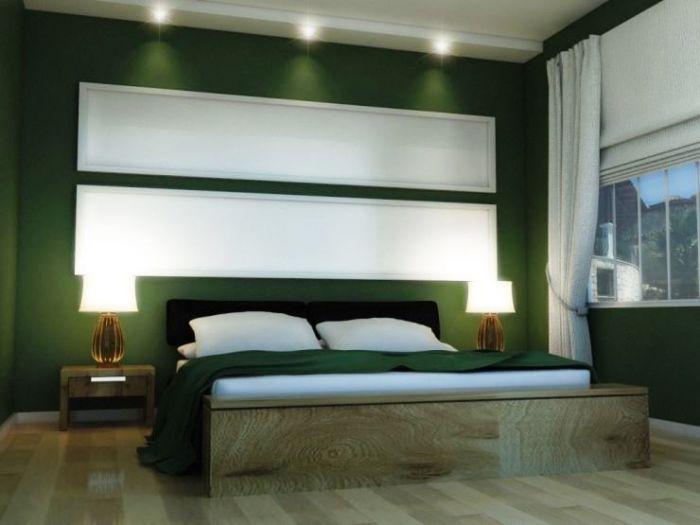 Нефритовый цвет в интерьере спальной комнаты.