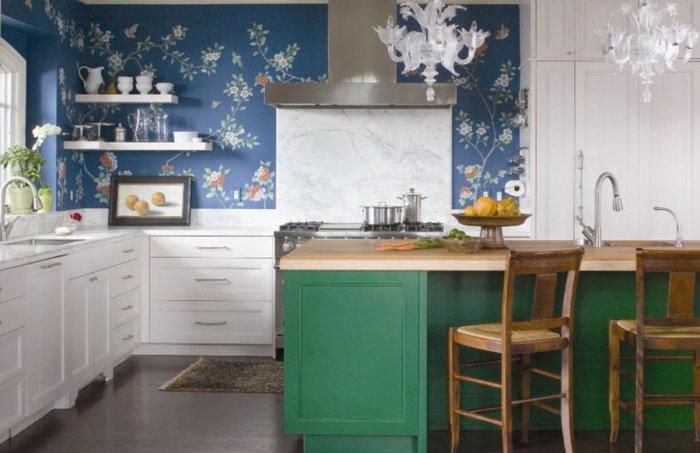Нефритовая мебель в интерьере кухни.