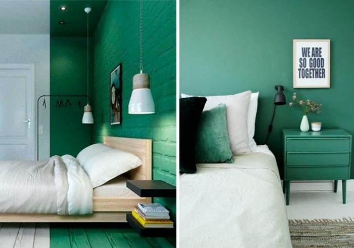Богатая палитра нефритовых оттенков идеально смотрится на стенах.