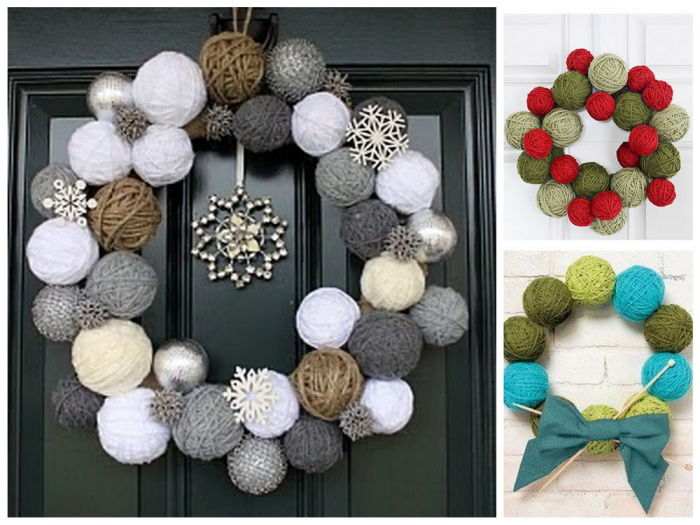 Бубоны и клубки шерсти – отличная альтернатива традиционным новогодним венкам.
