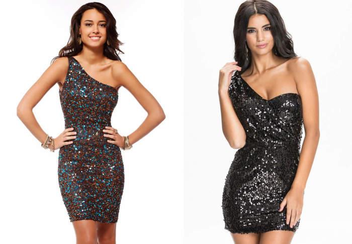 Блестящее платье с одним плечом. \ Фото: google.ru.
