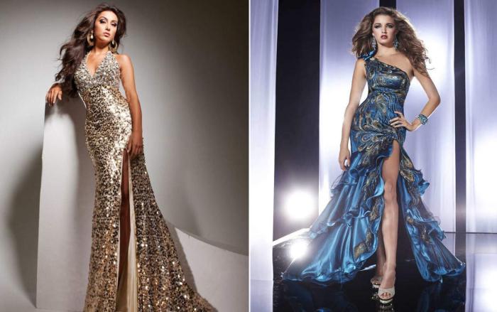 Роскошные вечерние платья из блестящей ткани. \ Фото: google.com.