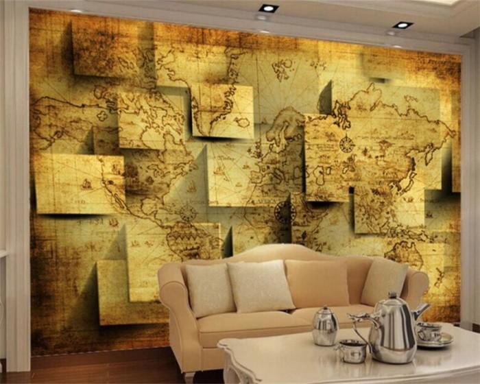3D обои в виде географической карты.