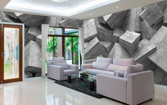 3D обои с имитацией бетонных плит.