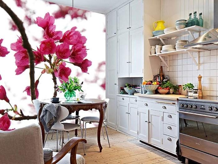3D обои в интерьере кухни.