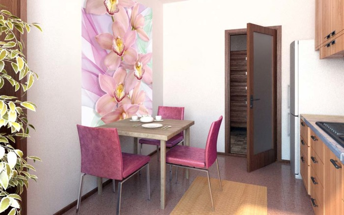 3D обои с нежными орхидеями.