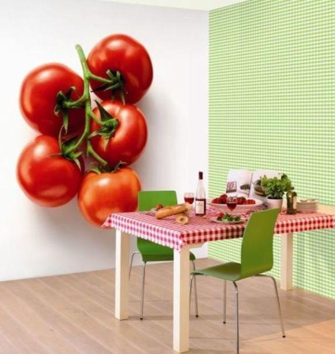 3D обои с аппетитными помидорами.