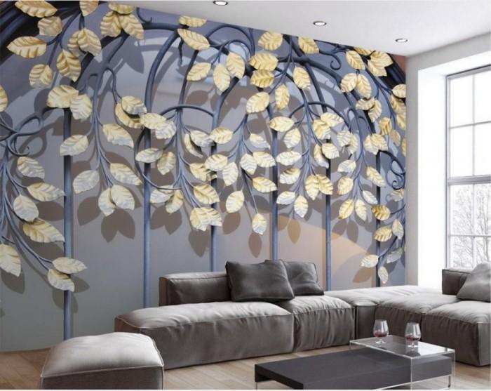 3D обои с изображением решётки и листьев.