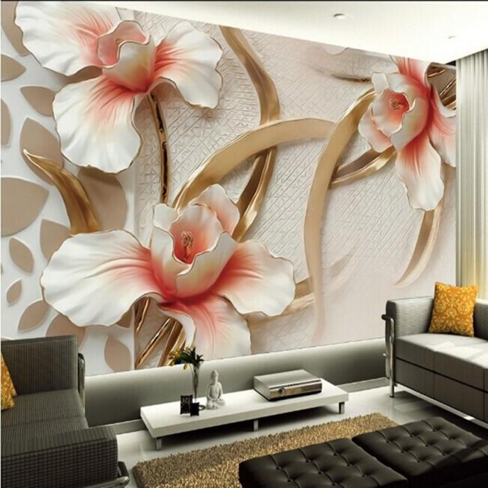 3D обои с роскошными белоснежными цветами.