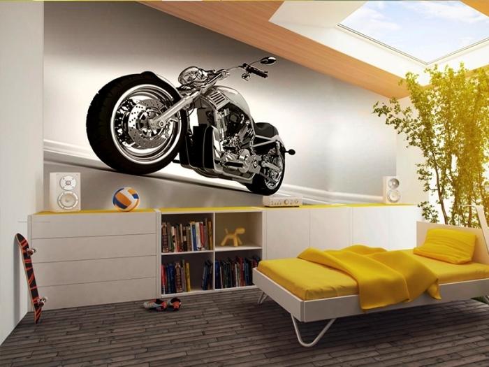 3D обои с изображением мотоцикла.