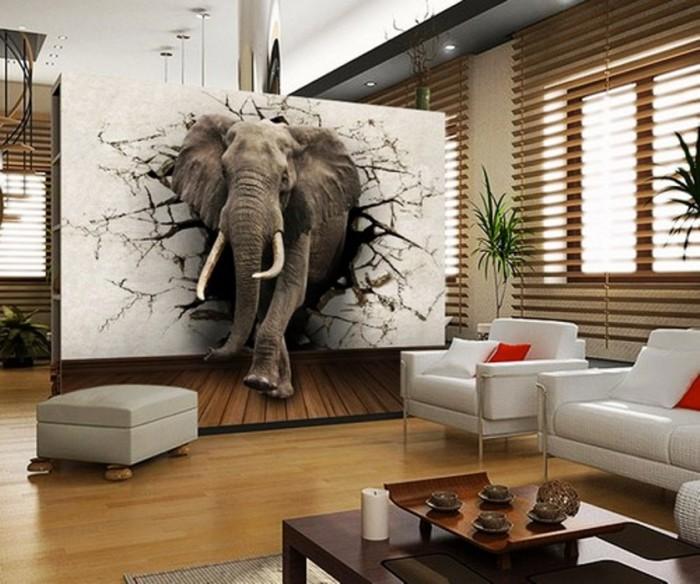 3D обои с изображением слона, пробившим стену.