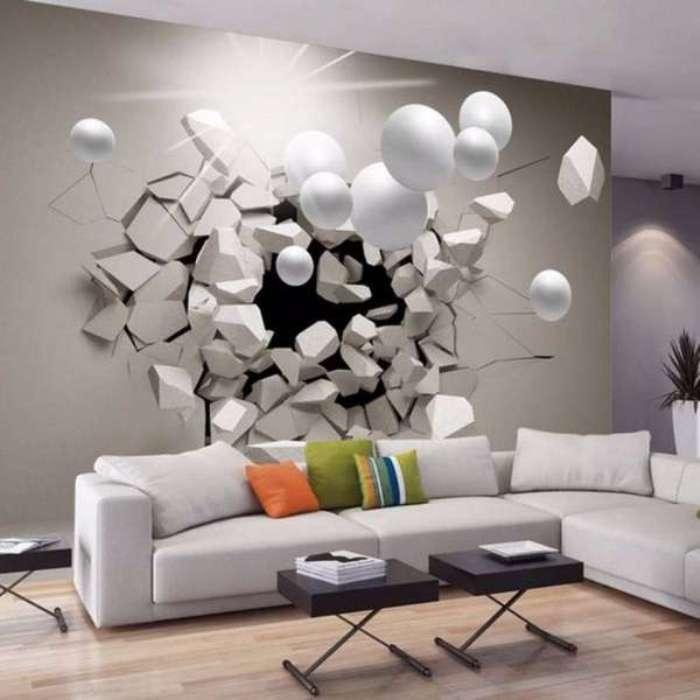 3D обои парящие в воздухе белые шары.