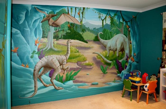 3D обои с изображением динозавров.