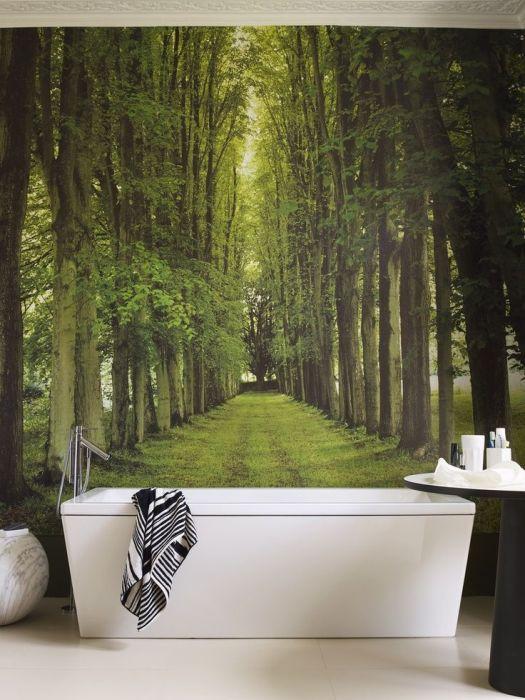 Грамотно подобранные фотообои будут прекрасно дополнять интерьер ванной комнаты.