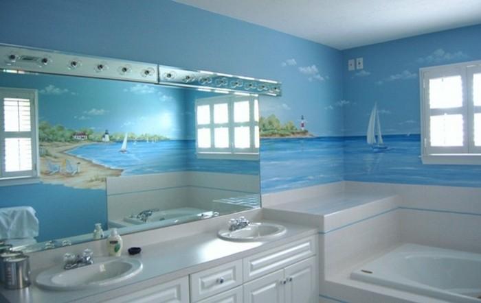 Морская тематика - идеальный вариант для ванной комнаты.