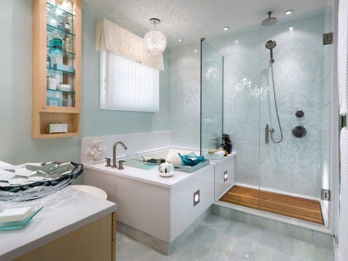 Стеклообои для ванной комнаты - идеальный вариант.
