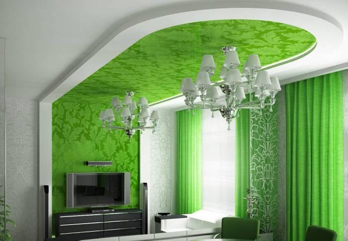 Практически все оттенки зелёного впишутся в современный интерьер, но особенно элегантно такие потолки будут смотреться в помещениях, оформленных во французском и классическом стилях.