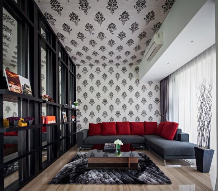 Стена и потолок, выполненные в единой цветовой палитре  - идеальный вариант для тех, кто не боится экспериментировать