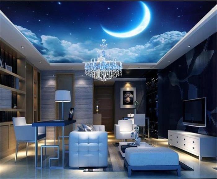 Идеальный вариант - потолок с ночным небом, звёздами и месяцем.