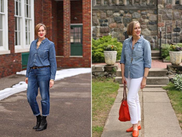 Носите с джинсами и сочетайте с брюками, разбавляя массивными украшениями. \ Фото: pouted.com.