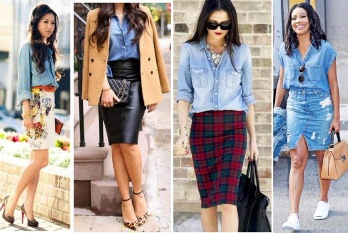 Джинсовые рубашки в гардеробе женщин, которым слегка за... \ Фото: stylishlady.ru.