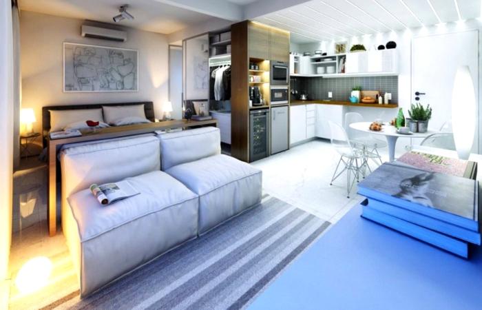 Современный дизайн однокомнатной квартиры.