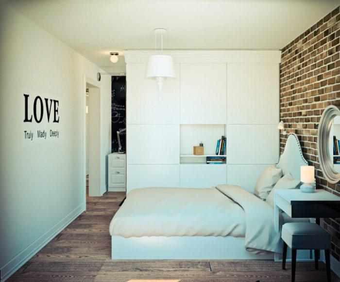 Так же уместными будут стенки-шкафы, которые отделят спальную зону от основной.