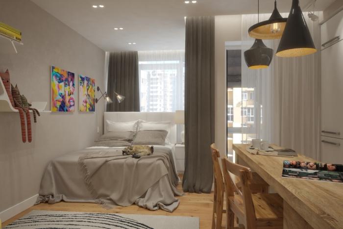 Спальное место в однокомнатной квартире.