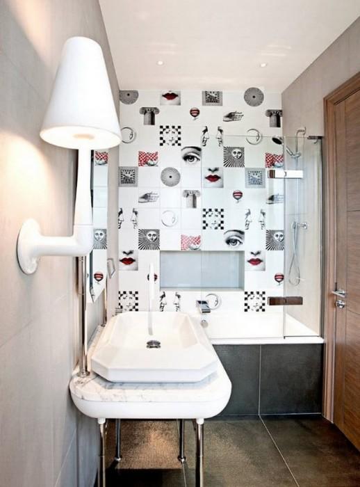 Современный дизайн маленькой ванной комнаты в однокомнатной квартире.