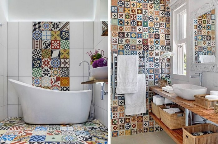 Стены, потолок и пол оформляются плиткой разных оттенков, чтобы помещение не выглядело бесформенным.