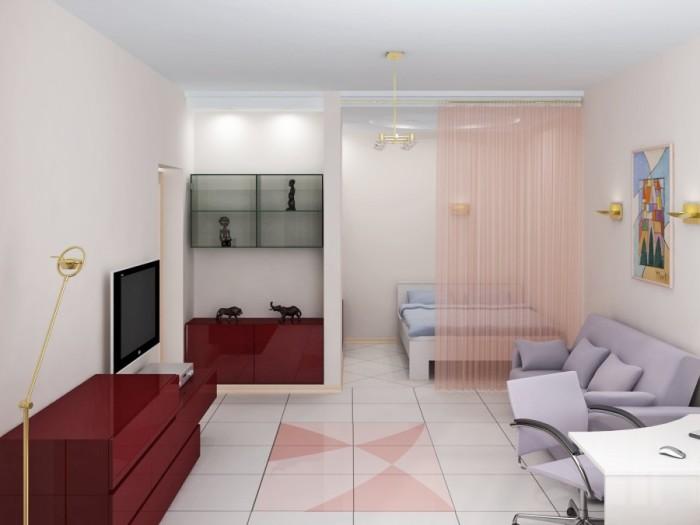Квартира-студия с зоной для спальни.