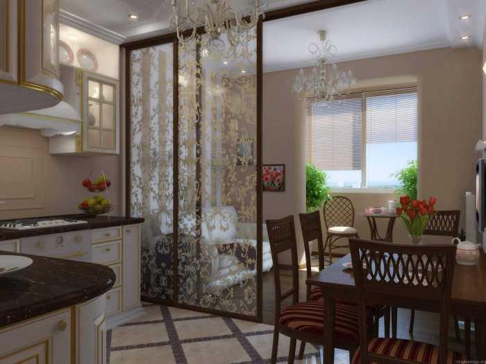 Симпатичная декоративная перегородка между кухней и гостиной.