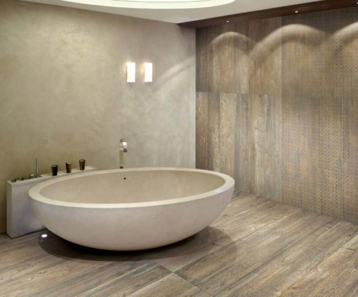 Плитка в интерьере имитирующая дерево – прекрасное решение для простых кухонь и нестандартных ванных.