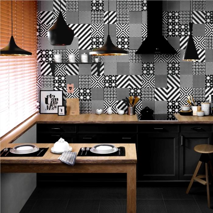 Такие геометрические мотивы идеально будут смотреться в кухне.