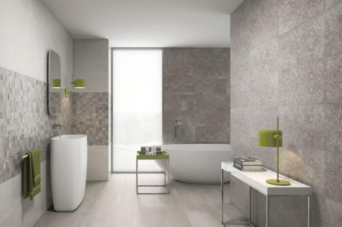 Керамика, имитирующая камень, обладает замечательными качествами: матовый цвет, рельефная фактура, не скользит. Для ванных комнат – наилучший вариант.