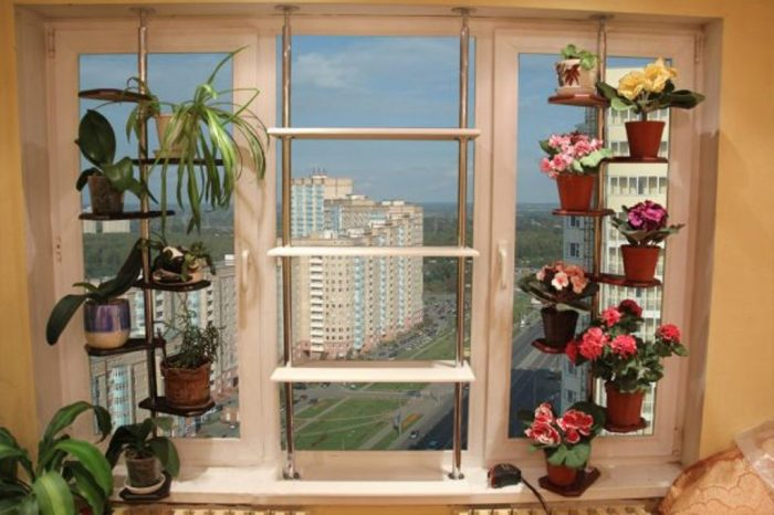 Данное решение прекрасно подойдёт тем людям, которые любят украшать комнату многочисленными цветами.