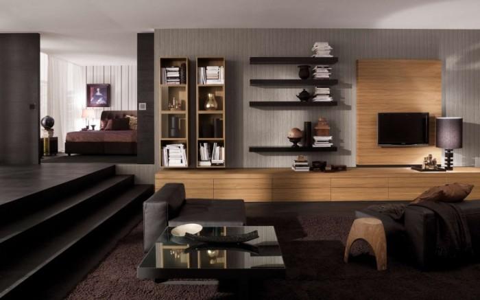 Классические навесные полки в гостиную представляют собой всем знакомое изделие из скрепленных досок или панелей в виде решётки.