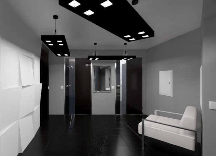 Прихожая в чёрно-белом стиле - один из самых простых вариантов оформления коридора. \ Фото: indesignInfo.ru.