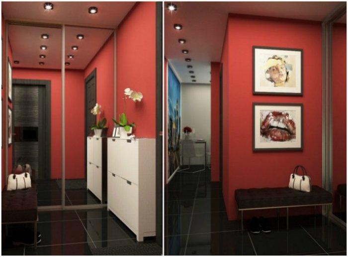 Яркая прихожая: красные стены, интересные картины, встроенный зеркальный шкаф. \ Фото: vdomax.ru