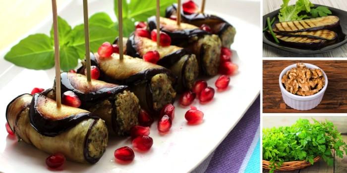 Рулеты из баклажанов с грецкими орехами. \ Фото: anews.com.