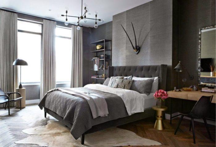 Спальня, выполненная в серых тонах.