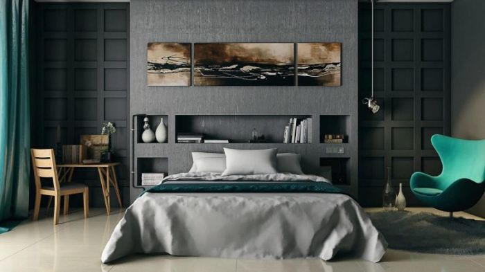 Современная спальня. выполненная в серых тонах с элементами бирюзового цвета.