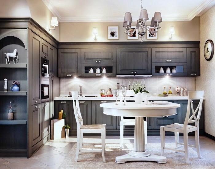 Серый кухонный гарнитур - прекрасно дополнит современную кухню.