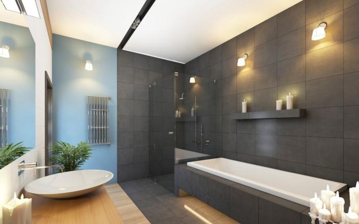 Модный серый цвет в интерьере ванной комнаты.