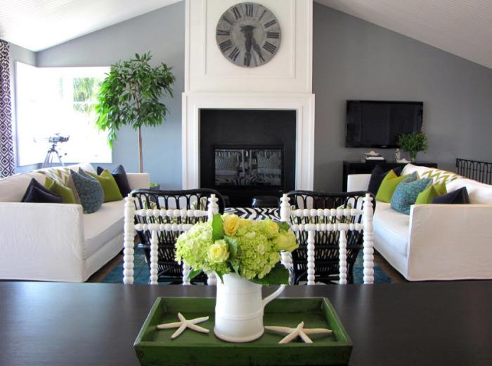 Разбавляем серые стены зелёными элементами декора.